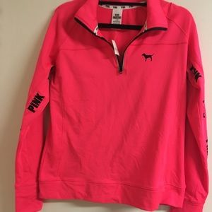 Victoria's Secret Pink Athletic Hot Pink 1/4 Zip